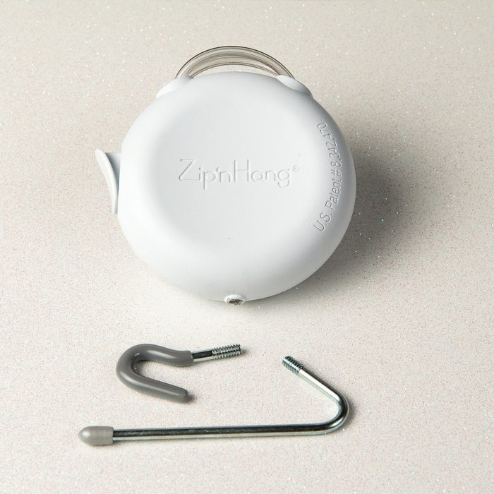 ZipnHang comes with 2 hooks for hanging a variety of sizes.